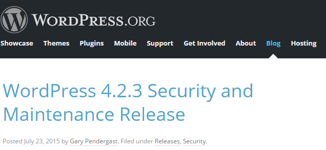 WordPress Maintenance Release 4.2.3